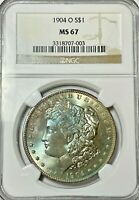 1904-O MORGAN DOLLAR NGC MINT STATE 67 IRIDESCENT BLUE-FACED BEAUTY WITH MIRRORED FIELDS
