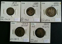 CHILE 19TH CENTURY 5 COIN SILVER GROUP   1873   1880   1880