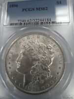 1896 MINT STATE 62 MORGAN SILVER DOLLAR, PCGS BLUE LABEL, BRIGHT, SHINY, SHIPS FREE
