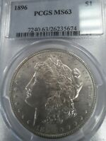 1896 MINT STATE 63 MORGAN SILVER DOLLAR, PCGS BLUE LABEL, BRIGHT, SHINY, SHIPS FREE