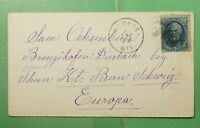 DR WHO 1880 MONROE WI TO SWITZERLAND  G29977