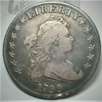 1799 DRAPED BUST SILVER DOLLAR VF DETAILS AS SHOWN    424