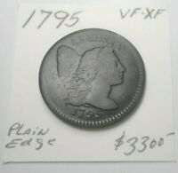 1795  FLOWING HAIR U.S. LARGE CENT EARLY BOLD STRIKE VF - EXTRA FINE  - SHIPS FREE