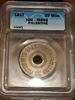 1927 PALESTINE 20 MILS ICG MS65 TOUGH COIN THIS NICE    SOLI