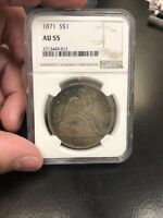 1871 LIBERTY SEATED SILVER DOLLAR AU55 NGC WITH MINT LUSTER