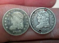 TWO 1829 CAPPED BUST SILVER HALF DIMES NO RESERVE