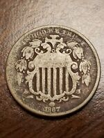 1867 SHIELD NICKEL WITH RAYS 5C