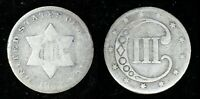 1852 3C COIN SILVER THREE CENT U.S. PHILADELPHIA MINT TYPE 1 NO OUTLINES STAR