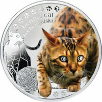 BENGAL CAT MANS BEST FRIENDS  CATS PROOF SILVER COIN 1$ NIUE