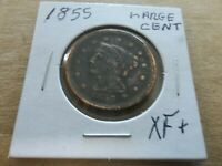 1855 BRAIDED HAIR LARGE CENT  CIRCULATED