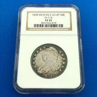 1828 CAPPED BUST SILVER HALF DOLLAR 50C SMALL 8 SQUARE 2 LARGE LETTERS NGC VF35