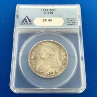 1826 CAPPED BUST SILVER HALF DOLLAR 50C LETTERED EDGE ANACS EF45 O-110 COIN