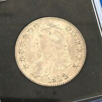 1822 CAPPED BUST SILVER HALF DOLLAR 50C LETTERED EDGE UNGRADED EXTRA FINE  EARLY US COIN