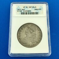 1811 CAPPED BUST SILVER HALF DOLLAR 50C LETTERED EDGE ANACS VF30 DETAILS COIN