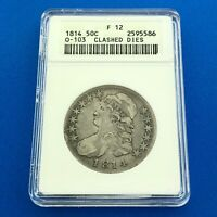 1814 CAPPED BUST SILVER HALF DOLLAR 50C LETTERED EDGE ANACS F12 CLASHED DIES