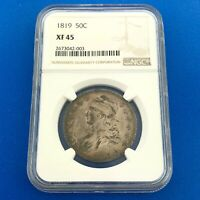 1819 CAPPED BUST SILVER HALF DOLLAR 50C LETTERED EDGE NGC EXTRA FINE 45 O-112 COIN