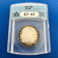 1821 CAPPED BUST SILVER HALF DOLLAR 50C LETTERED EDGE ANACS EF45 O-106 COIN