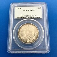 1824 CAPPED BUST SILVER HALF DOLLAR 50C LETTERED EDGE PCGS EXTRA FINE 45 EARLY US COIN
