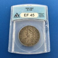 1822 CAPPED BUST SILVER HALF DOLLAR 50C LETTERED EDGE ANACS EF45 O-109 COIN