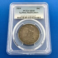 1834 CAPPED BUST SILVER HALF DOLLAR 50C LETTERED EDGE PCGS EXTRA FINE 45 LG DATE SM LTRS