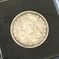 1839 CAPPED BUST SILVER HALF DOLLAR 50C REEDED EDGE UNGRADED EXTRA FINE COIN