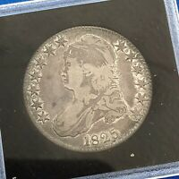 1825 CAPPED BUST SILVER HALF DOLLAR 50C LETTERED EDGE UNGRADED EARLY US COIN