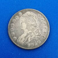 1820 CAPPED BUST SILVER HALF DOLLAR 50C LETTERED EDGE SQUARE 2 NO KNOB UNGRADED