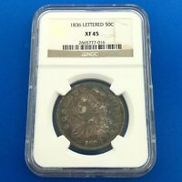 1836 CAPPED BUST SILVER HALF DOLLAR 50C LETTERED EDGE NGC EXTRA FINE 45 SUNSET TONING