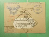 1944 V MAIL OFFICIAL FREE FRANK TO USA WWII CENSORED TO APO