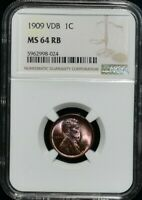 1909 VDB LINCOLN WHEAT CENT NGC MINT STATE 64 RB REMARKABLE LUSTER RED BROWN COLOR