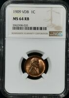 1909 VDB LINCOLN WHEAT CENT NGC MINT STATE 64 RB BEAUTIFUL COLOR APPEAL GEM