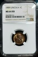 1909 LINCOLN WHEAT CENT NGC MINT STATE 64 RB STUNNING RED BROWN LUSTER COLOR