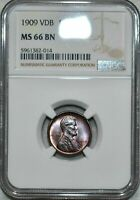 1909 VDB LINCOLN WHEAT CENT NGC MINT STATE 66 BN STUNNING GEM LIKE LUSTER HIGH GRADE