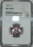 1920 LINCOLN WHEAT CENT NGC MINT STATE 64 RB BEAUTIFUL RED BROWN COLOR GEM APPEAL