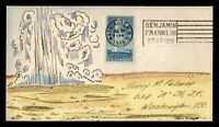 DR WHO 1934 FDC YELLOWSTONE NATIONAL PARK KRAFT HAND PAINTED CACHET  G34050