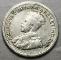 CANADA 1920 SILVER 5 CENTS OLD DATE KGV  61D