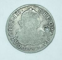 1777 SPANISH BOLIVIA SILVER 2 REALES COLONIAL COIN