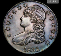 1833 UNITED STATES .50C SILVER CAPPED BUST MS/BU      TONING