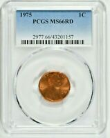 1975 1C LINCOLN MEMORIAL CENT PCGS MS66RD  1157  99C   WITTE