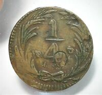 1836 MO MEXICO 1/4 REAL MINT ERROR DOUBLE DIE OBVERSE FINE D