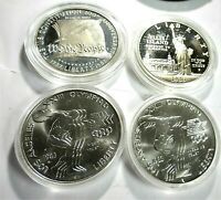 4 COIN COLLECTION LOT OF USA MODERN SILVER COMMEMORATIVE SIL