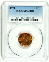 1971 1C LINCOLN MEMORIAL CENT PCGS MS66RD  9549  99C   WITTE