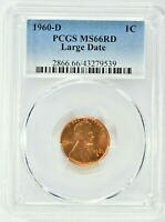 1960 D 1C LINCOLN MEMORIAL CENT PCGS MS66RD LARGE DATE 99C
