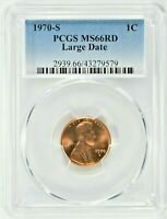1970 S 1C LINCOLN MEMORIAL CENT PCGS MS66RD LARGE DATE  9579