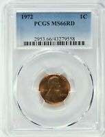 1972 1C LINCOLN MEMORIAL CENT PCGS MS66RD  9558  99C   WITTE