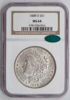 1888-O MORGAN SILVER DOLLAR, NGC MINT STATE 64 CAC, TOUGHER NEW ORLEANS ISSUE