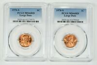 LOT OF TWO 1970 S 1C LINCOLN MEMORIAL CENT PCGS MS66RD LARGE