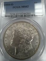 1884-O MINT STATE 62 MORGAN SILVER $, PCGS BLUE LABEL, NEW ORLEANS MINT, SHIPS FREE