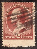 US  210   1881  2C GRADE: VG  EFO: PARTIAL PLATE  ON BOTTOM OF STAMP.