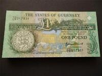 GUERNSEY 2013 THOMAS DE LA RUE ONE POUND NOTE UNCIRCULATED 1  GUERNSEY BANKNOTE